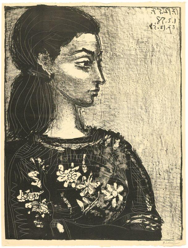 Pablo Picasso, 'Femme au corsage à fleurs', 1958, Print, Lithograph, third and final state., Koller Auctions