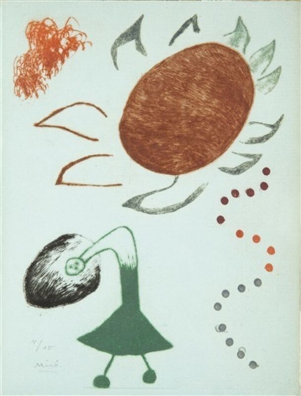 Joan Miró, 'Untitled from Au Paradis des Fantômes', 1938, Print, Drypoint and aquatint, printed in color on Montval blue paper, Isselbacher Gallery