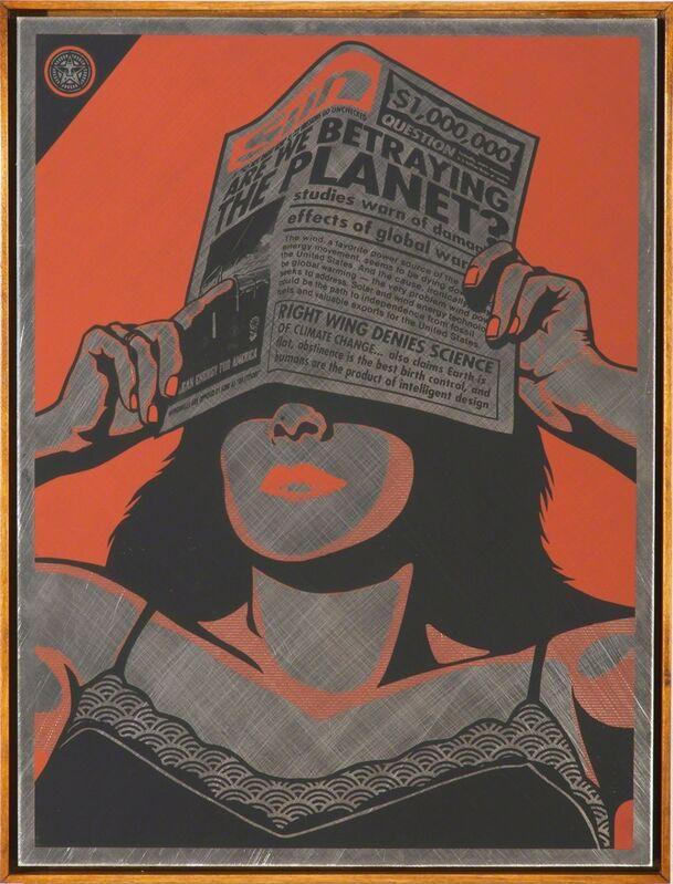 Shepard Fairey, 'Global Warning metal', 2010, Print, On Aluminum, Rudolf Budja Gallery