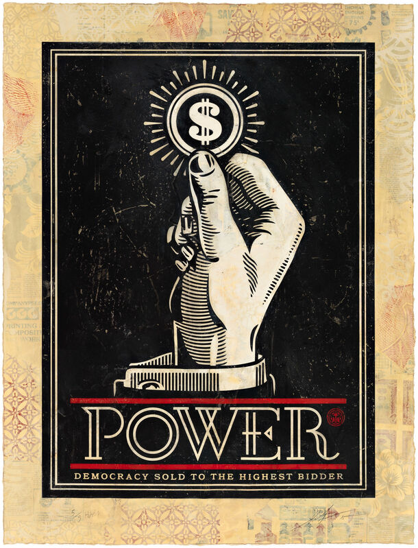 Shepard Fairey, 'Power Bidder, HPM', 2015, Print, Two-color relief print on hand-painted material, Pace Prints
