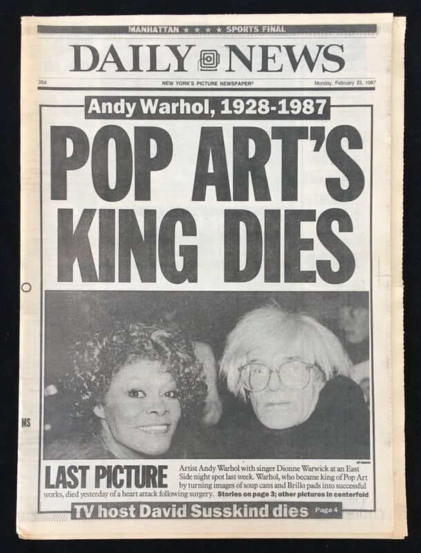 Andy Warhol, 'Warhol Dies! Set of 4 NY newspapers announcing Andy Warhol's death ', 1987, Ephemera or Merchandise, Newspaper, Lot 180