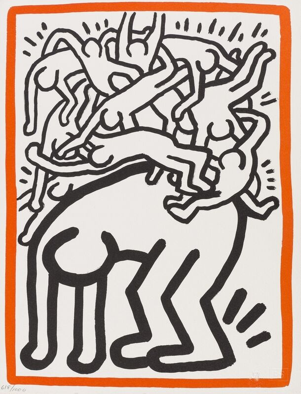 Keith Haring, 'Fight Aids Worldwide (See Littmann page 168)', 1990, Print, Lithograph printed in colours, Forum Auctions