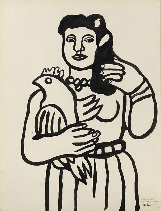 Fernand Léger, 'La femme au perroquet', 1950, Drawing, Collage or other Work on Paper, Brush and ink on paper, Opera Gallery