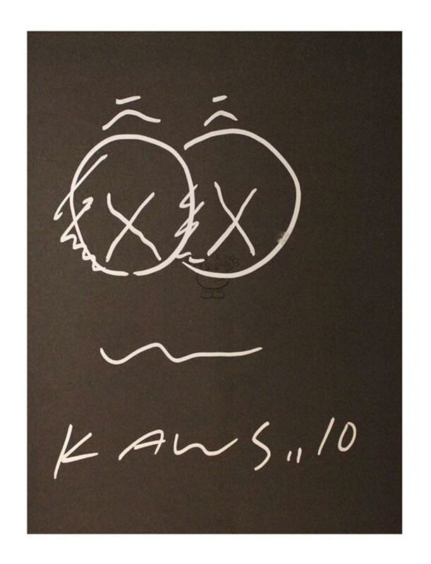 KAWS, 'B&W Drawing', 2010, Drawing, Collage or other Work on Paper, Marker on paper, EHC Fine Art Gallery Auction