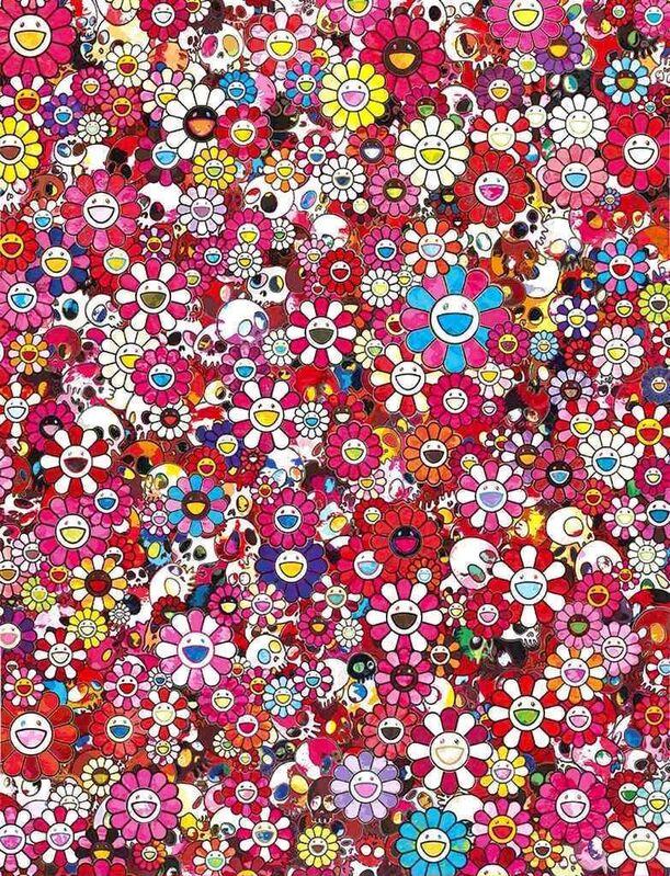 Takashi Murakami, 'Skulls & Flowers Red', 2013, Print, Offset lithography, Dope! Gallery
