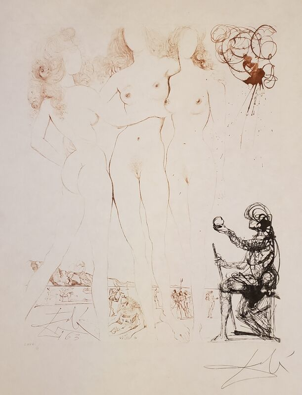 Salvador Dalí, 'Mythology Suite: The Judgement of Paris ', 1963 -1965, Print, Hand-colored dry-point etching and engraving on Japanese paper., Off The Wall Gallery