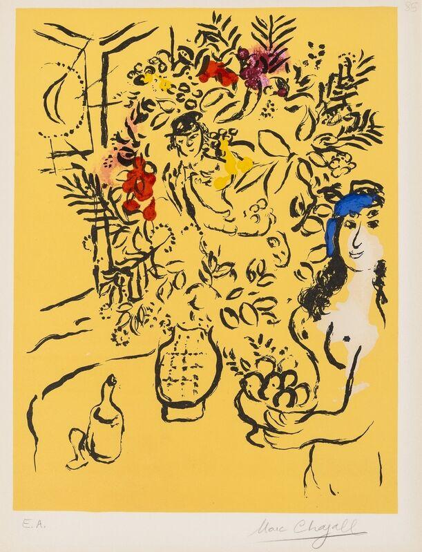 Marc Chagall, 'Femme et Vase des Fleurs (Couverture de Menu) (Mourlot 414)', 1964, Print, Lithograph printed in colours, Forum Auctions