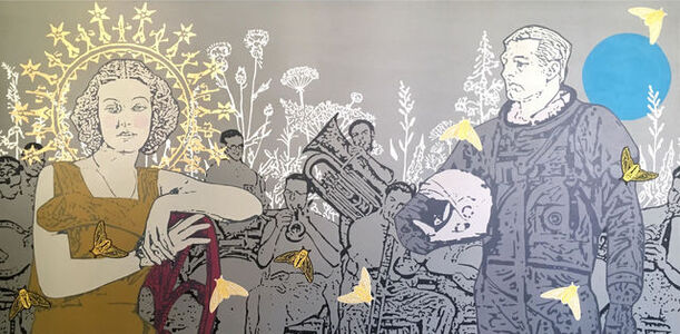 Rafael Barón, 'Serenade, Painting with pieces embroidered in gold thread', 2019