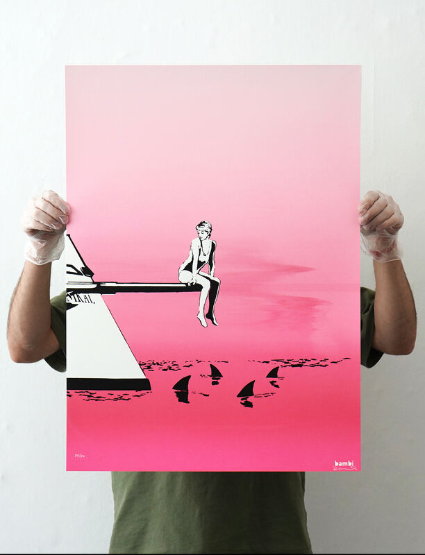 Bambi, 'Diana with Sharks', 2021, Print, Hand-pulled silkscreen print on 425gsm Saunders Waterford, Graffik Gallery Limited