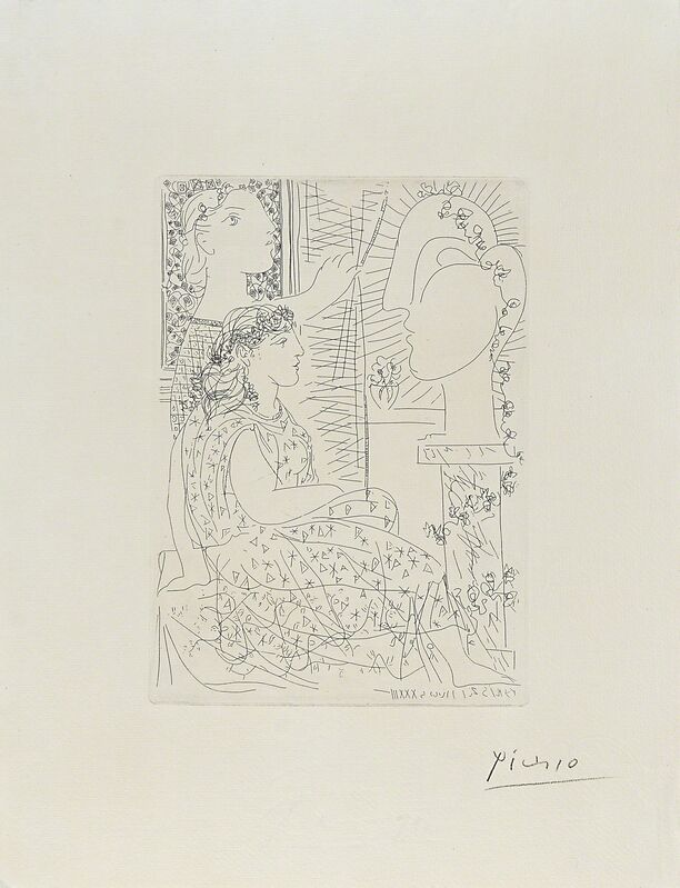 Pablo Picasso, 'Deux modeles vetus from La Suite Vollard', 1933, Print, Etching on Montval paper with Picasso watermark, Rago/Wright/LAMA