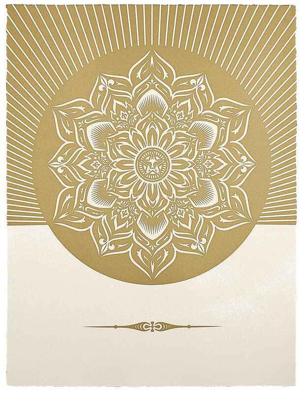 Shepard Fairey, 'Obey Lotus Diamond (White and Gold)', 2012, Print, Silkscreen and diamond dust on Somerset Satin Tub Sized 410 gsm, with deckled edges. Signed and numbered by artist on verso., Paul Stolper Gallery