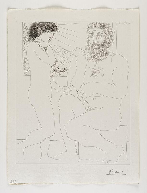 Pablo Picasso, ''Sculpteur songeant, Modèle aux Cheveux noirs et Bol avec trois Anémones' from the 'Suite Vollard'', 1933, Print, Etching, Frederick Mulder