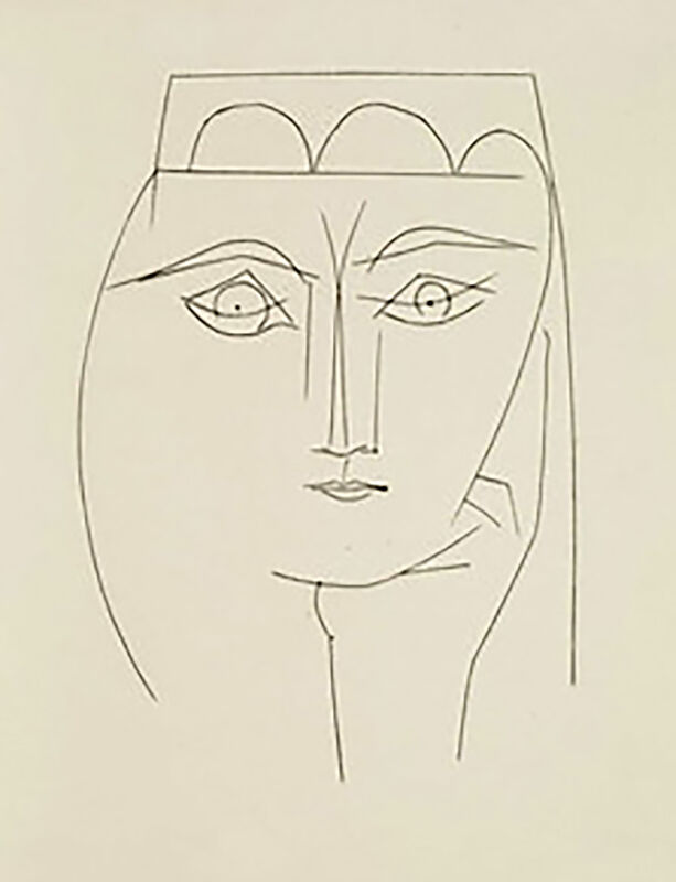 Pablo Picasso, 'Woman with Headdress and Piercing Eyes (Plate XXVIII)', 1949, Print, Original etching on Montval wove paper, Georgetown Frame Shoppe