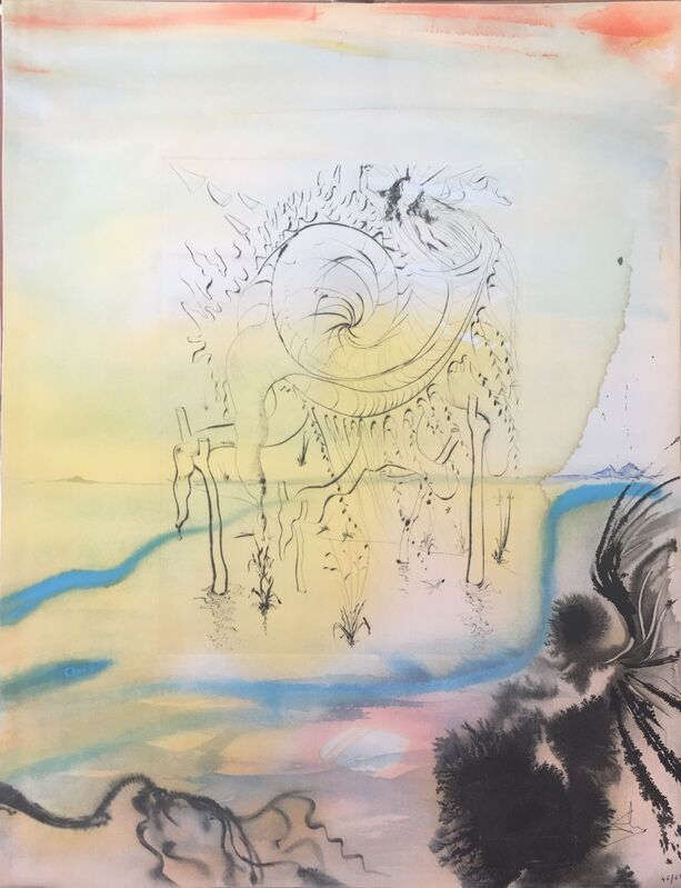 Salvador Dalí, 'Moses Saved From The Waters', 1975, Mixed Media, Engraving + lithograph on soft glove sheepskin, Dali Paris