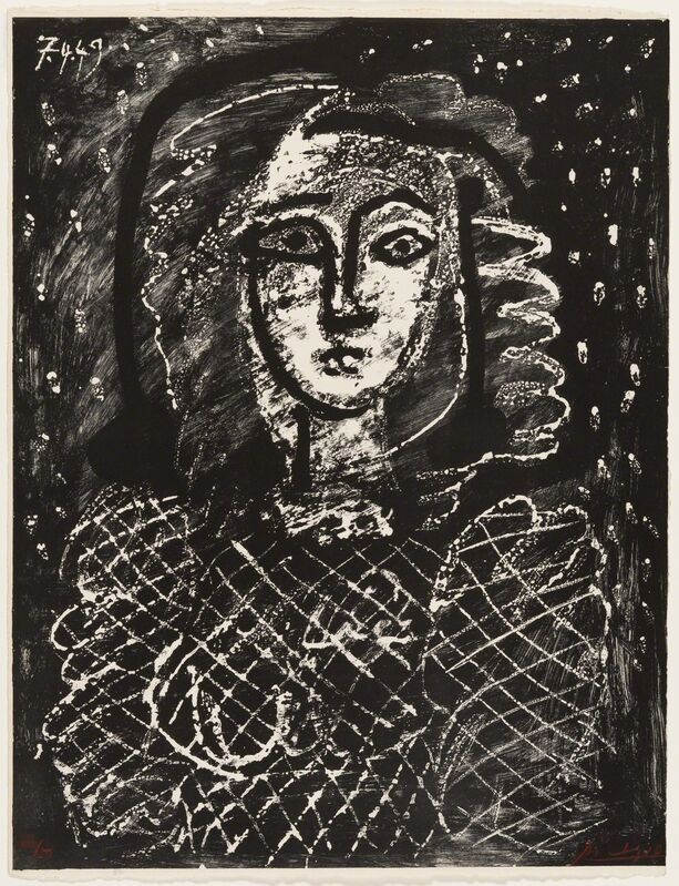 Pablo Picasso, 'Bust on a Starry Background', 1949, Print, Lithograph, Christopher-Clark Fine Art