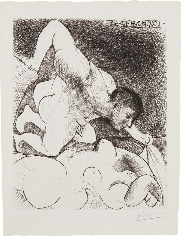 Pablo Picasso, 'Homme dévoilant une femme (Man Unveiling a Woman), plate 5 from La Suite Vollard', 1931, Print, Etching, on Montval paper watermarked Picasso, with full margins, Phillips