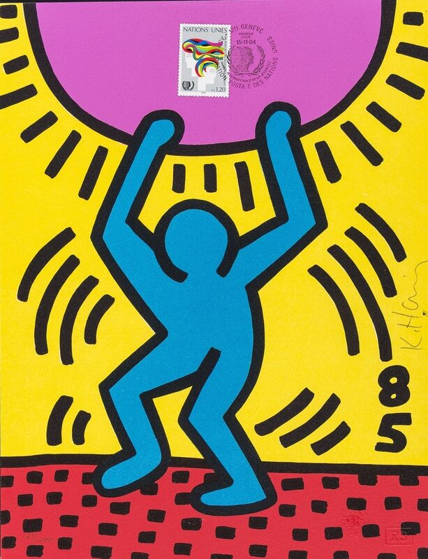 Keith Haring, 'International Your Year (See Littmann page 36)', 1985, Mixed Media, Lithograph printed in colours with postage stamp collage, Forum Auctions