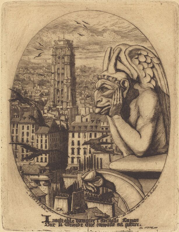 Charles Meryon, 'Le stryge (The Vampire)', 1853, Print, Etching on green paper, National Gallery of Art, Washington, D.C.