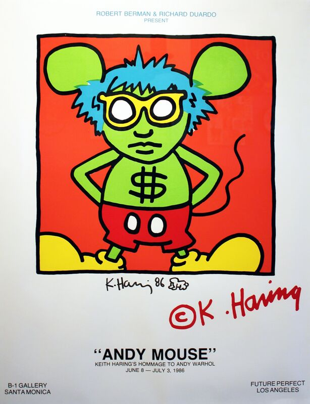 Keith Haring, 'Andy Mouse Exhibition Poster', 1986, Posters, Silkscreen with original hand drawing, Robert Berman Gallery