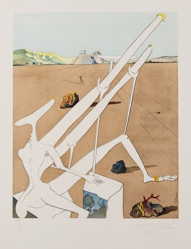 Salvador Dalí, 'Martian Dalí Equipped with a Holoelectronic Double Microscope (Field 74-12.C)', 1974, Print, Etching with aquatint printed in colours, Forum Auctions