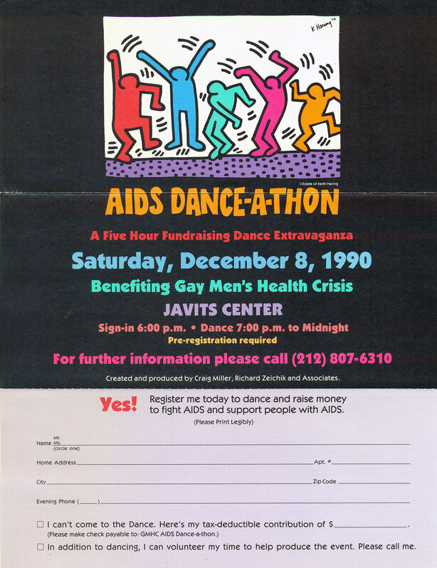 Keith Haring, 'Keith Haring AIDS Dance-A-Thon poster 1990', 1990, Ephemera or Merchandise, Offset lithograph, Lot 180