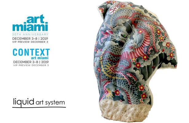 Liquid art system at Art Miami 2019, installation view