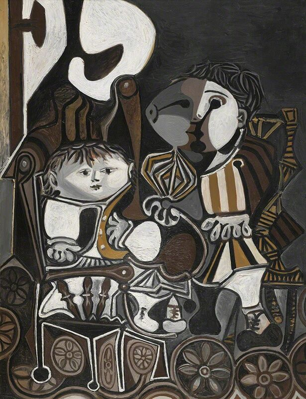 Pablo Picasso, 'Claude et Paloma', 1950, Painting, Oil and ripolin on panel, Vancouver Art Gallery