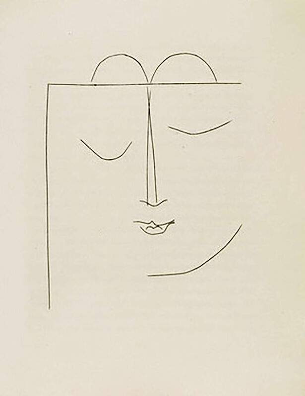 Pablo Picasso, 'Half-Square Head of a Woman with Closed Eyes and Full Lips (Plate XXVII)', 1949, Print, Original etching on Montval wove paper, Georgetown Frame Shoppe