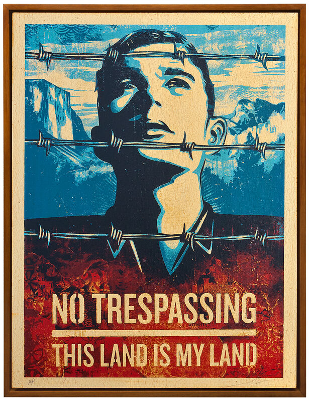 Shepard Fairey, 'This Land is Your Land', 2012, Mixed Media, Silkscreen and Mixed Media Collage on Wood, HPM, Subliminal Projects