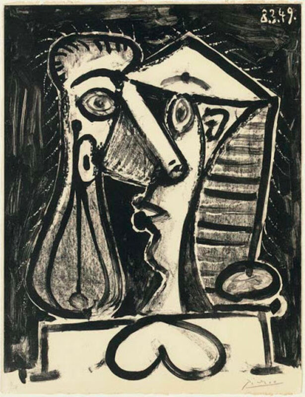 """Pablo Picasso, 'Figure Composée II', 1949, Drawing, Collage or other Work on Paper, Original Lithograph printed in black ink on wove paper bearing the """" Arches """" (script watermark), Level1 Gallery"""