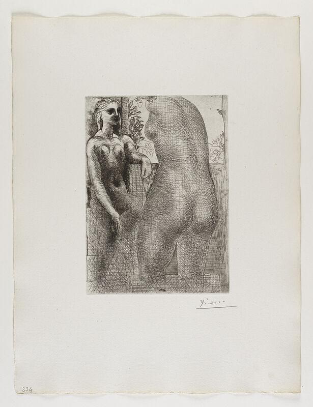 Pablo Picasso, ''Marie-Thérèse regardant son Corps sculpté' from the 'Suite Vollard'', 1933, Print, Etching, Frederick Mulder