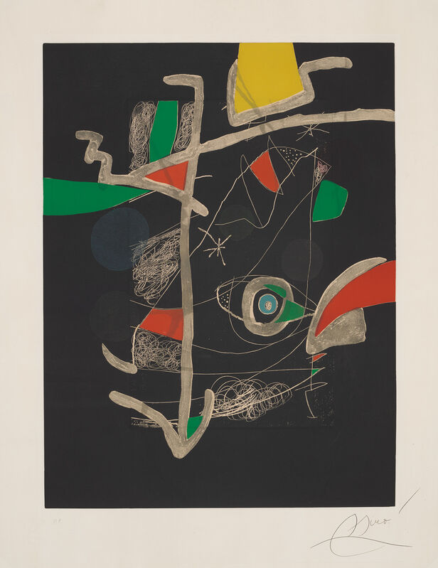 Joan Miró, 'Untitled, plate VI from Llibre dels sis Sentis (Book of the Six Senses)', 1981, Print, Etching and aquatint in colours, on Guarro paper watermarked *Sala Gaspar*, with full margins., Phillips