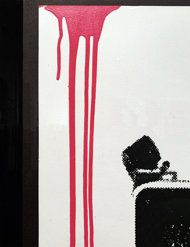 """Mr. Brainwash, ''It's Your Birthday' (pink)', 2018, Print, Single-color screen print on archival 300gsm fine art paper with pink paint drips/splatters added by hand. Custom float- framed in 2"""" gloss black hardwood molding with 93% UV-protective plexiglass., Signari Gallery"""