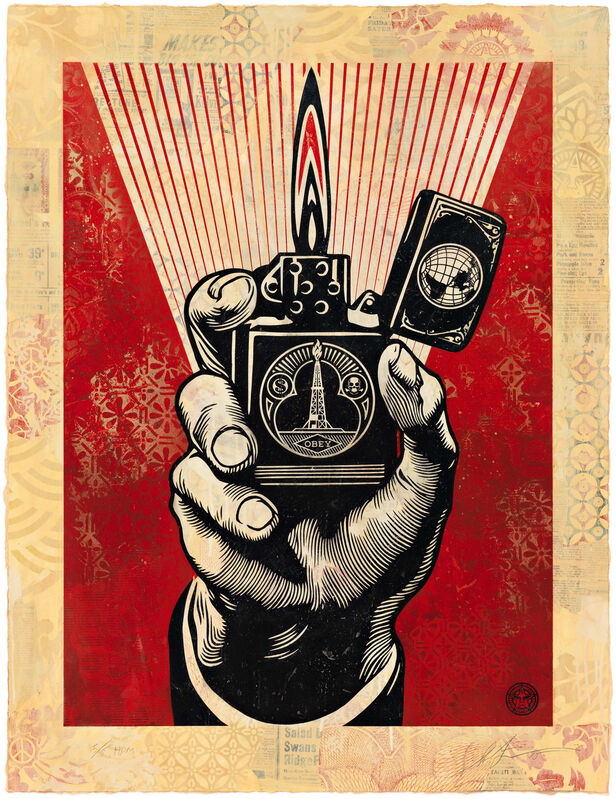 Shepard Fairey, 'Smoke 'Em While You Got 'Em, HPM', 2015, Print, Two-color relief print on hand-painted material, Pace Prints
