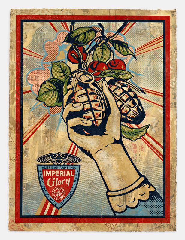 Shepard Fairey, 'Imperial Glory, HPM', 2011-2012, Print, Silkscreen in five colors on hand-painted material, Pace Prints