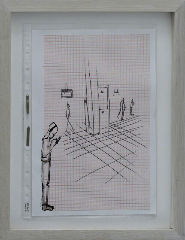 Rosmarie Lukasser, 'Manuskript / Informationsfilter (@S-Bahn)', 2014, Drawing, Collage or other Work on Paper, Ink on paper, Galerie Krinzinger