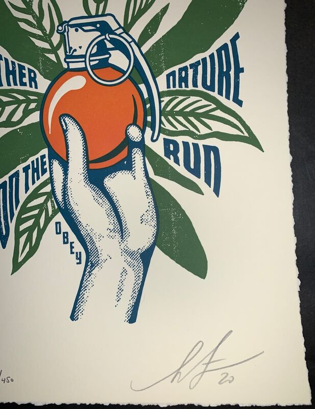 Shepard Fairey, 'Shepard Fairey Mother Nature on the Run Neil Young Tour Print Letterpress ', 2020, Print, Cream Cotton, Hand-Deckled Edges, New Union Gallery