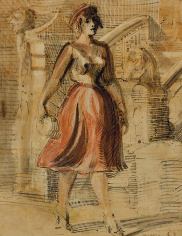 Reginald Marsh, 'Woman Walking, 1953', 1953, Painting, Oil and Ink on Gessoed Board, The Illustrated Gallery