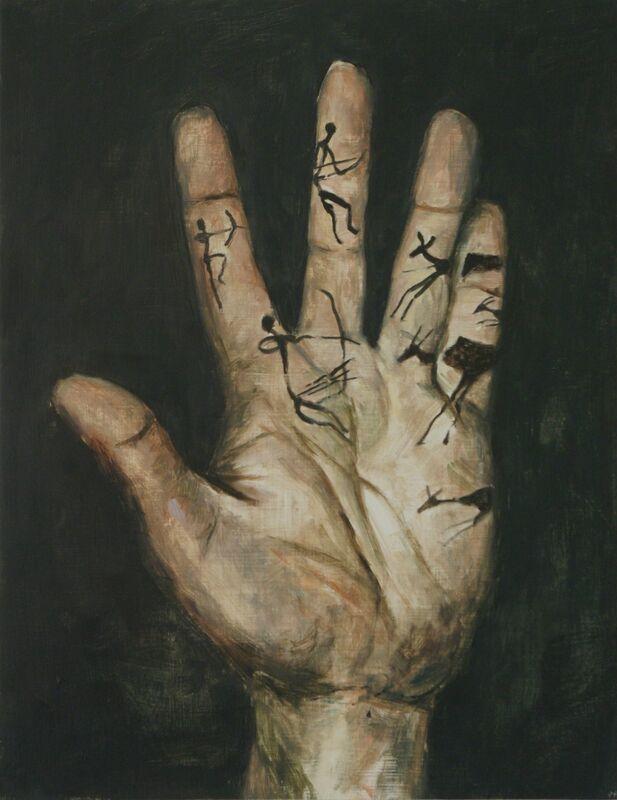 Jasper Hagenaar, 'La main de lascaux', 2014, Painting, Oil on panel, Jeanine Hofland