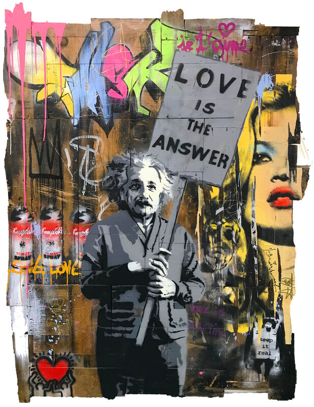 Mr. Brainwash, 'LOVE IS THE ANSWER (EINSTEIN)', 2012, Painting, MIXED MEDIA ON WOOD PANELS, Gallery Art