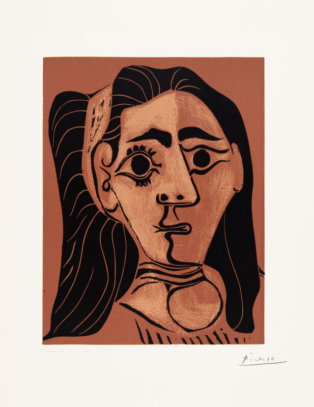 Pablo Picasso, 'Jacqueline in Headband II (Woman with Flowing Hair)', 1962, Print, Linocut, Christopher-Clark Fine Art