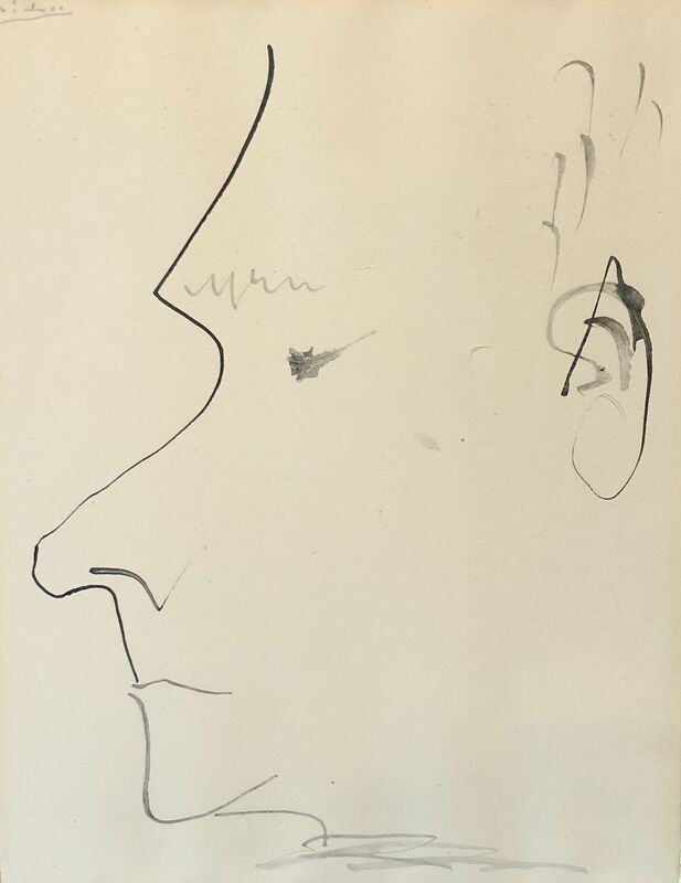 Pablo Picasso, 'Profil d'homme (recto); Deux hommes de profil (verso)', ca. 1900, Drawing, Collage or other Work on Paper, Pen & ink on paper, Eye For Art Houston