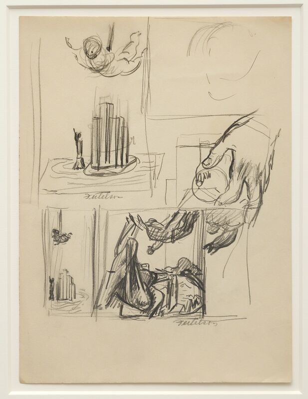 Lorser Feitelson, 'Study for Flight Over New York', ca. 1935, Drawing, Collage or other Work on Paper, Graphite on paper, Louis Stern Fine Arts