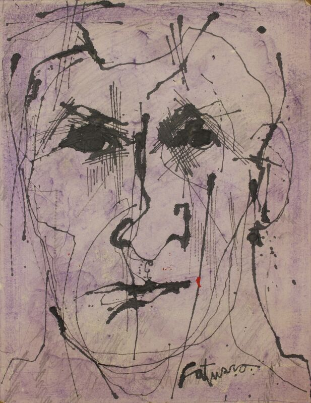 Louis Catusco, 'Portrait - Self?', Unknown, Mixed Media, Mixed media on masonit, Addison Rowe Gallery