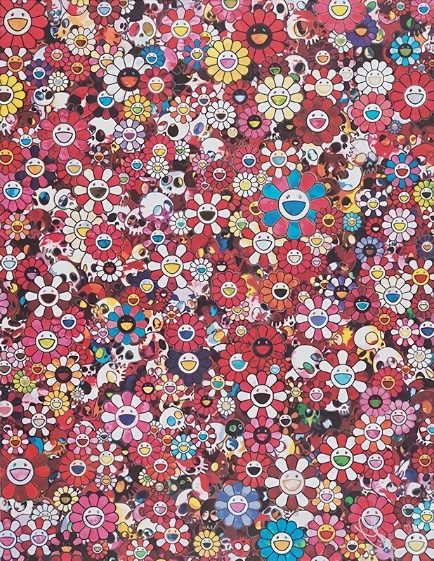 Takashi Murakami, 'Skulls & Flowers Red', 2016, Print, Offset print with cold stamp, Pinto Gallery