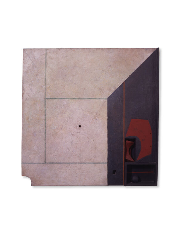 Marcelo Bonevardi, 'Patio', 1969, Painting, Acrylic on textured substrate on wood construction, painted wood assemblage, and carving, Leon Tovar Gallery