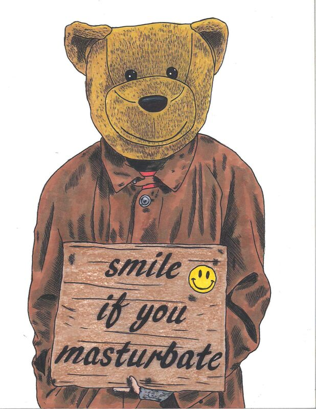 Sean 9 Lugo, 'Smile If You Masturbate', 2019, Drawing, Collage or other Work on Paper, Marker and ink on Bristol paper, framed, Deep Space Gallery