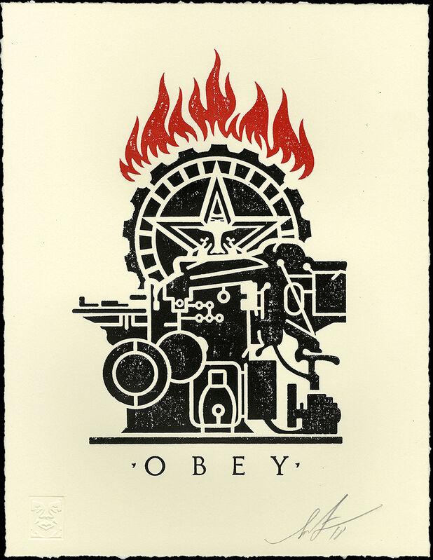 Shepard Fairey, 'Obey Printing Press - Letterpress ', 2018, Print, Letterpress on Cream Cotton, Gallery Auximenes