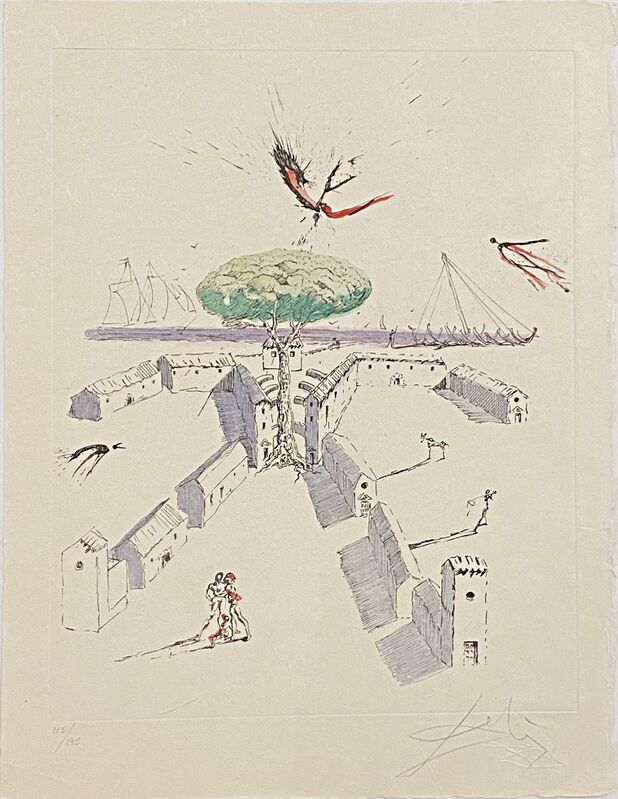 Salvador Dalí, 'The Beach at Sete - La Plage Sete ', 1967 , Print, Original etching reworked in drypoint on Japanese paper., Off The Wall Gallery