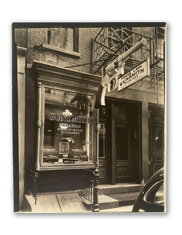 Berenice Abbott, 'Gunsmith, 6 Central Market Place, Manhattan', 1937, Photography, Silver gelatin print. Vintage, Jackson Fine Art